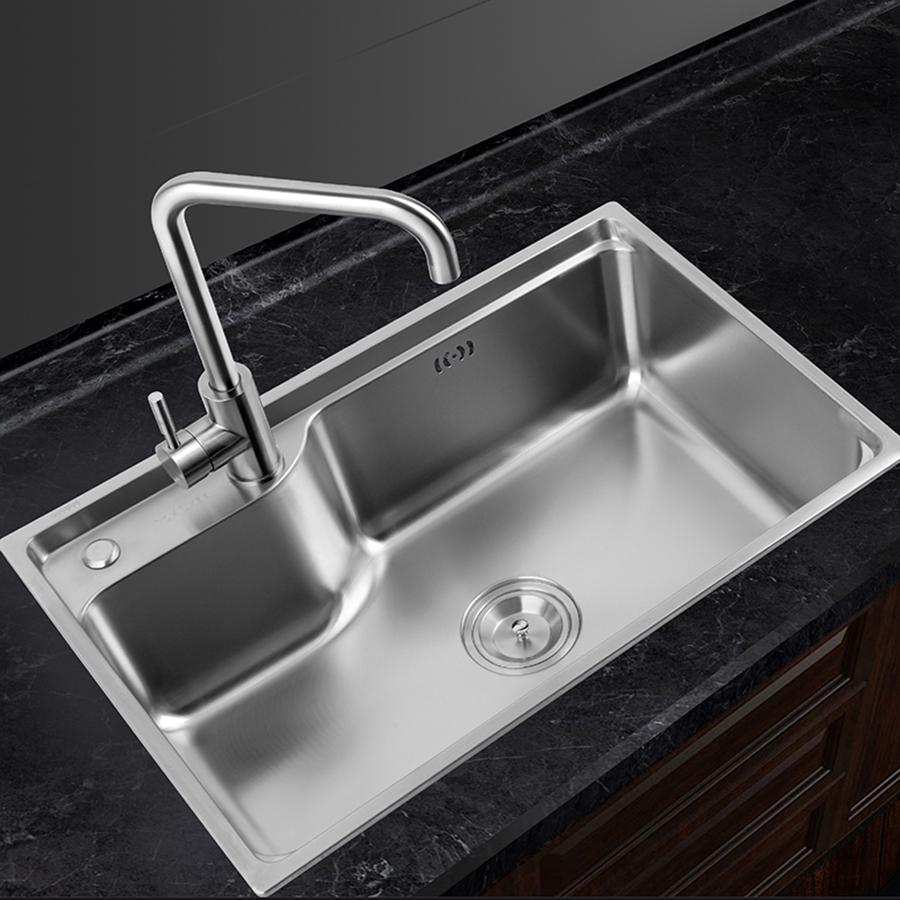 GOHGOH 厨房单槽304不锈钢精拉丝水槽MT6544