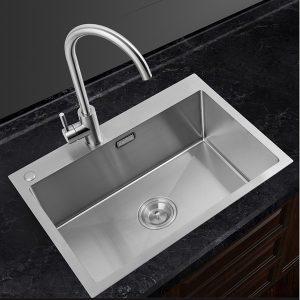 GOHGOH 厨房单槽304不锈钢精拉丝水槽NU535H