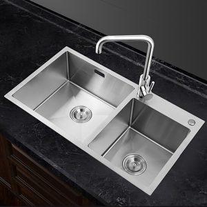 GOHGOH 厨房双槽304不锈钢美式精拉丝水槽NU549H
