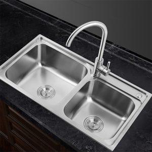 GOHGOH 厨房双槽304不锈钢美式精拉丝水槽OI7843T