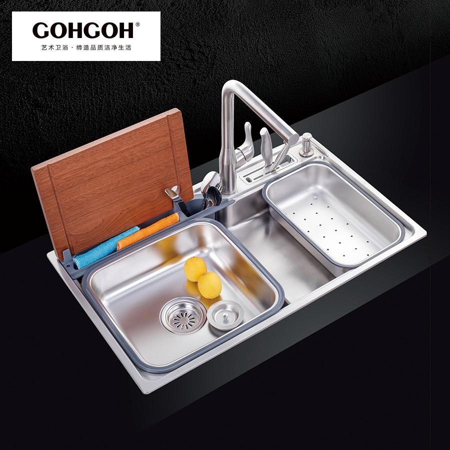 GOHGOH 厨房单槽304不锈钢精拉丝水槽MT8048