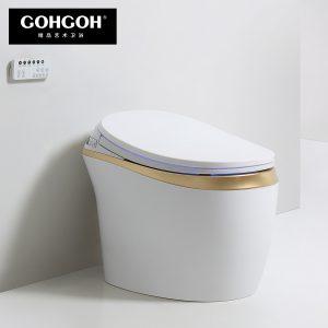 GOHGOH 家用卫生间智能陶瓷坐便器 即热式感应马桶 一体式座便节水防臭马桶ZC81金色